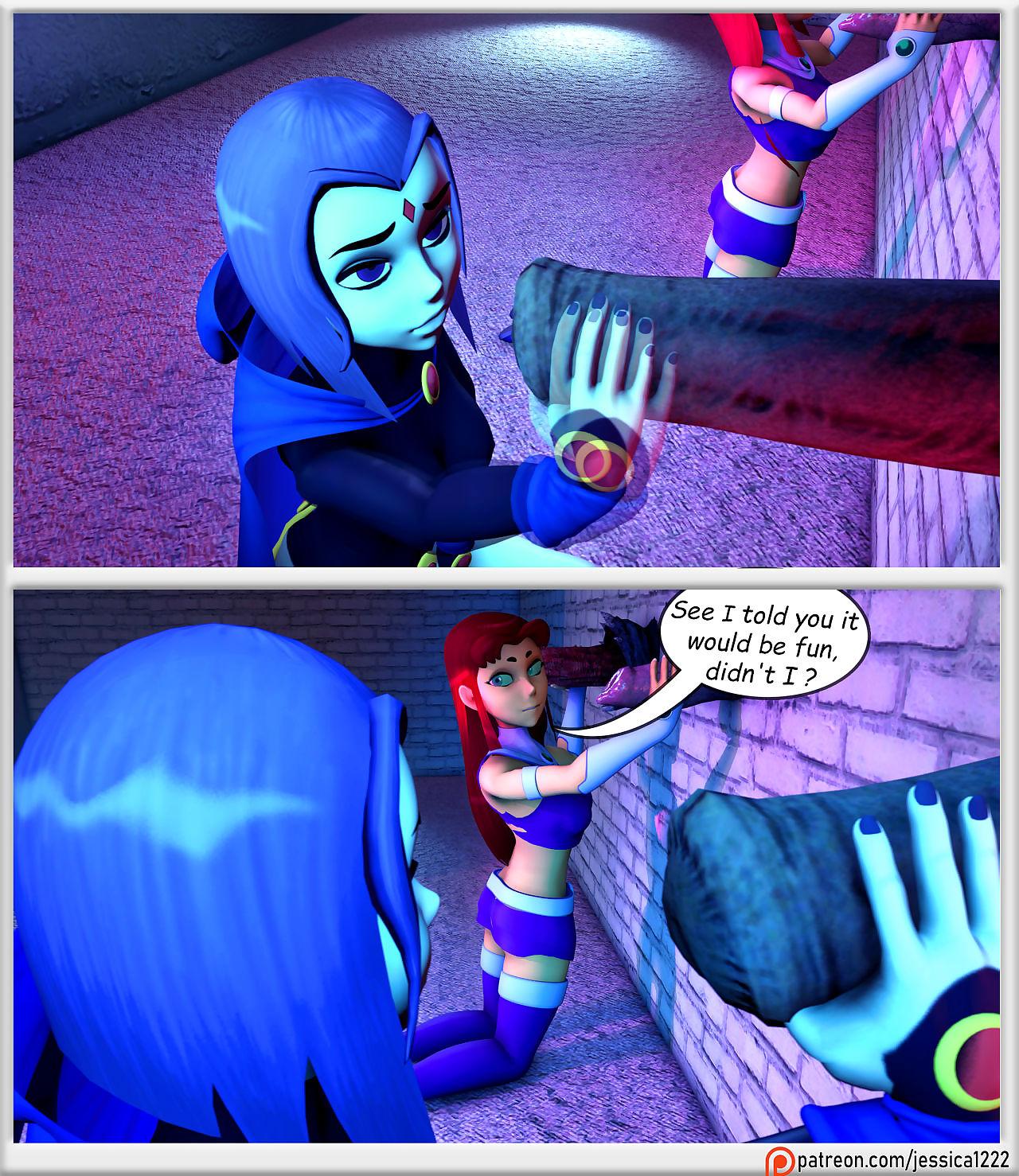 Teen Titans- Raven, Starfire and The Alien Gloryhole