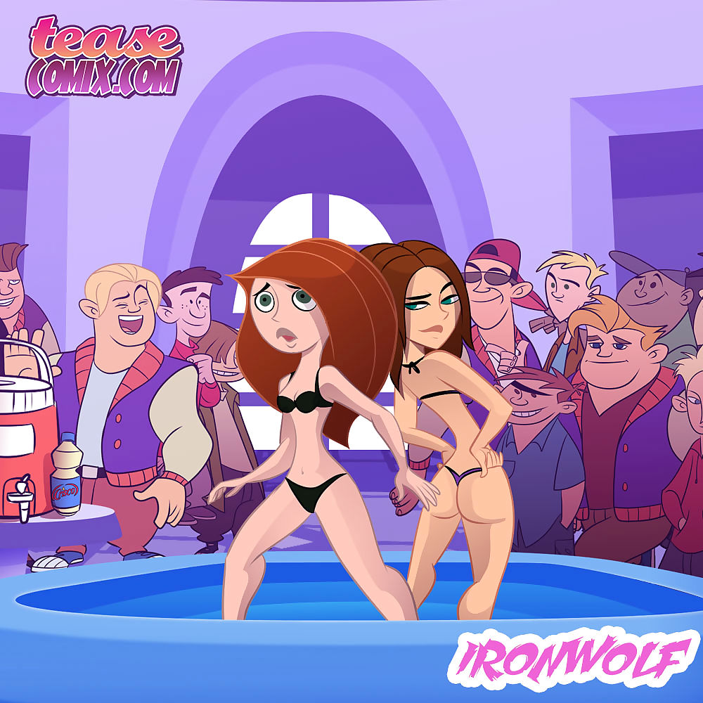 Tease Comix- Cheer Fight- Kim Possible & Bonnie Oil Wrestling